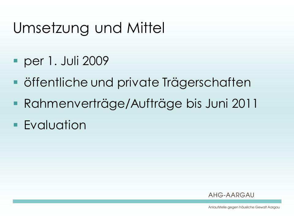Umsetzung und Mittel per 1.