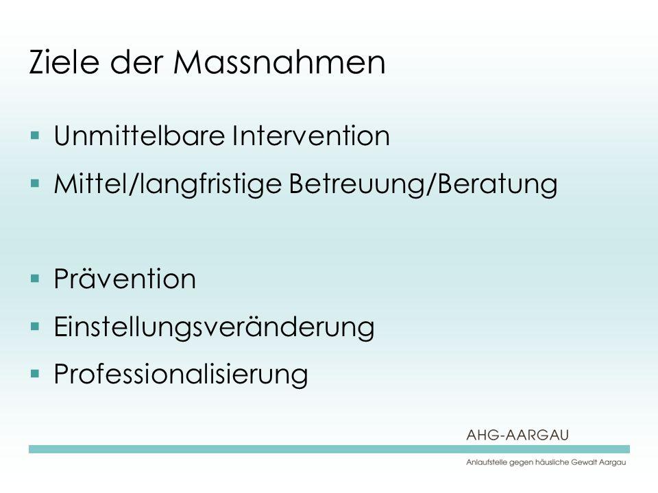 Ziele der Massnahmen Unmittelbare Intervention Mittel/langfristige Betreuung/Beratung Prävention Einstellungsveränderung Professionalisierung