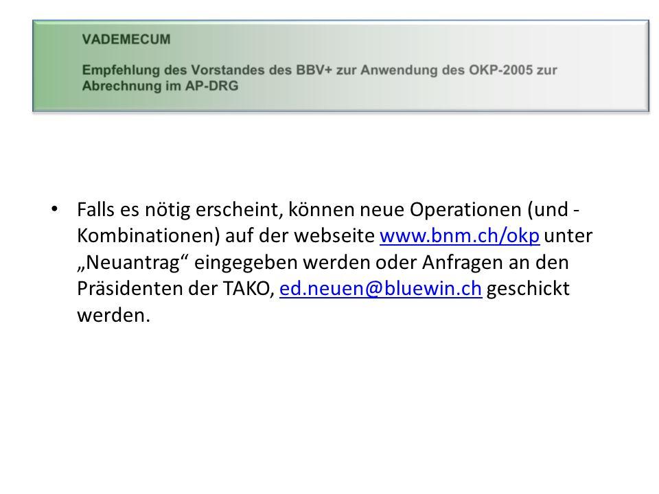 Falls es nötig erscheint, können neue Operationen (und - Kombinationen) auf der webseite www.bnm.ch/okp unter Neuantrag eingegeben werden oder Anfrage