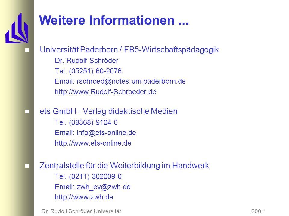 2001Dr. Rudolf Schröder, Universität Paderborn Verlauf des Zertifizierungsverfahrens