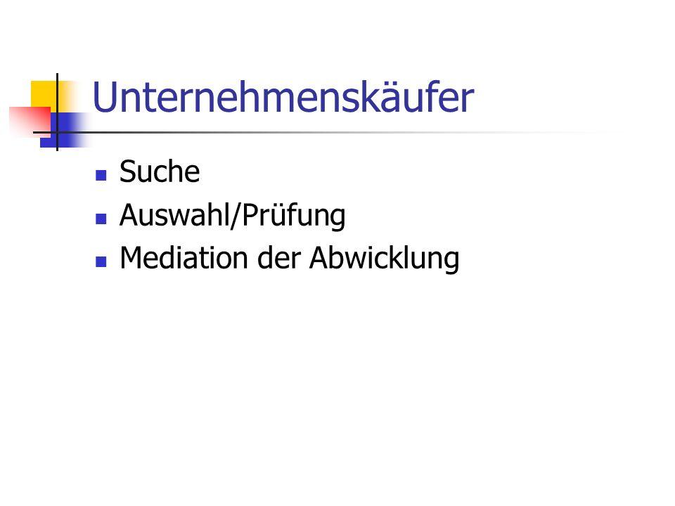 Unternehmenskäufer Suche Auswahl/Prüfung Mediation der Abwicklung