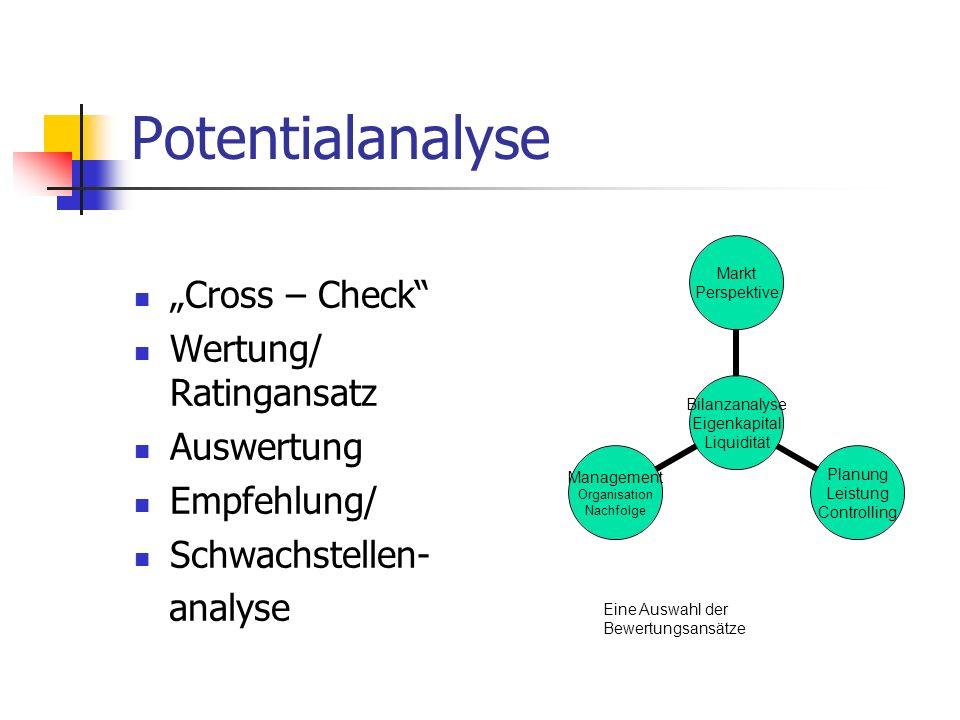 Potentialanalyse Cross – Check Wertung/ Ratingansatz Auswertung Empfehlung/ Schwachstellen- analyse Bilanzanalyse Eigenkapital Liquidität Markt Perspe