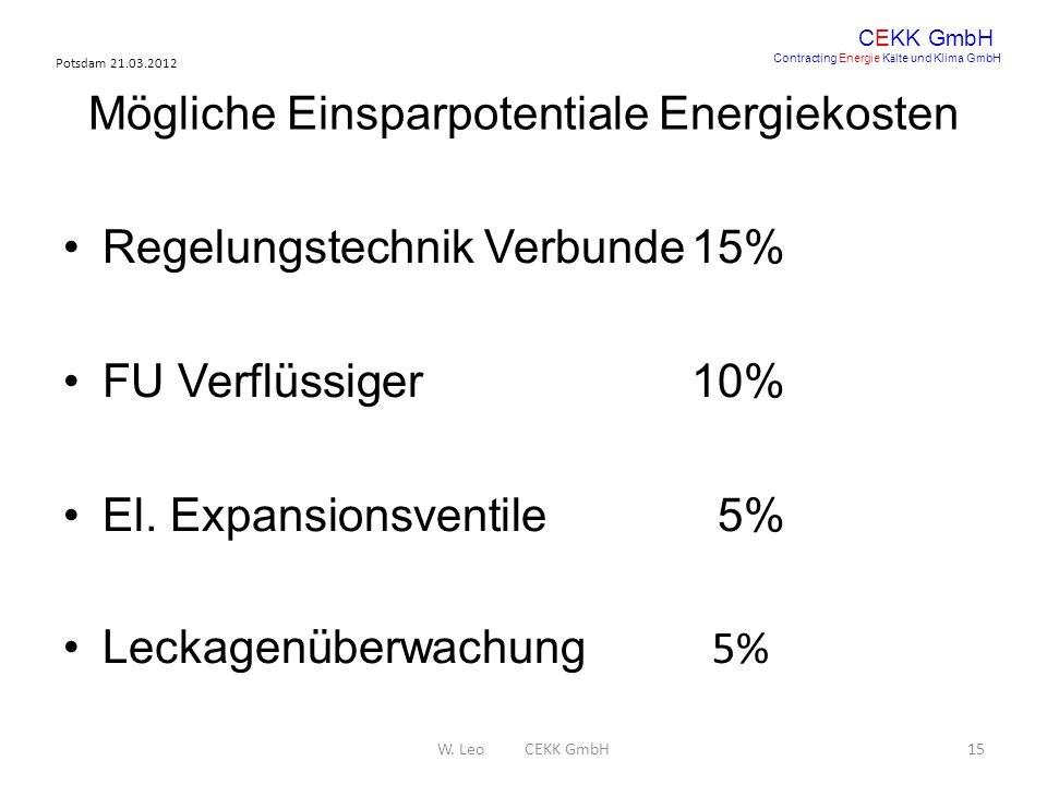 Potsdam 21.03.2012 W. Leo CEKK GmbH15 CEKK GmbH Contracting Energie K ä lte und Klima GmbH Mögliche Einsparpotentiale Energiekosten Regelungstechnik V