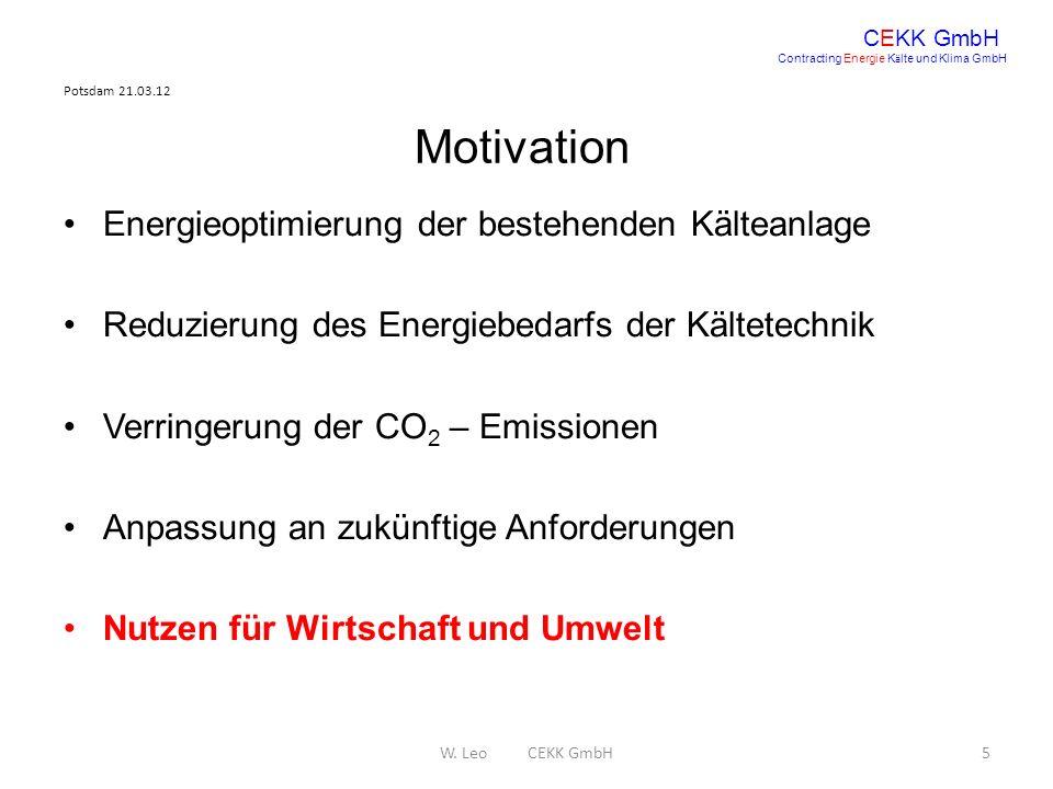 Potsdam 21.03.12 W. Leo CEKK GmbH5 CEKK GmbH Contracting Energie K ä lte und Klima GmbH Motivation Energieoptimierung der bestehenden Kälteanlage Redu