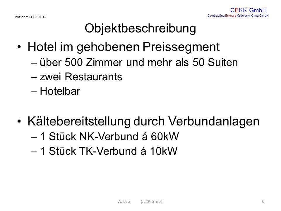 Potsdam21.03.2012 W. Leo CEKK GmbH6 CEKK GmbH Contracting Energie K ä lte und Klima GmbH Objektbeschreibung Hotel im gehobenen Preissegment –über 500