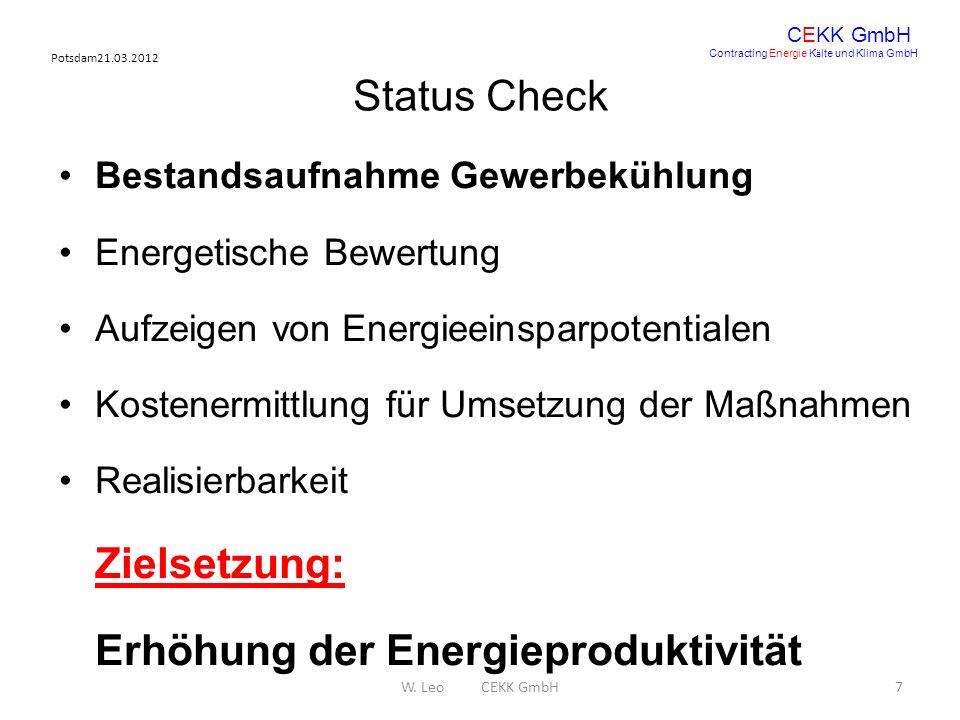 Potsdam21.03.2012 W. Leo CEKK GmbH7 CEKK GmbH Contracting Energie K ä lte und Klima GmbH Status Check Bestandsaufnahme Gewerbekühlung Energetische Bew