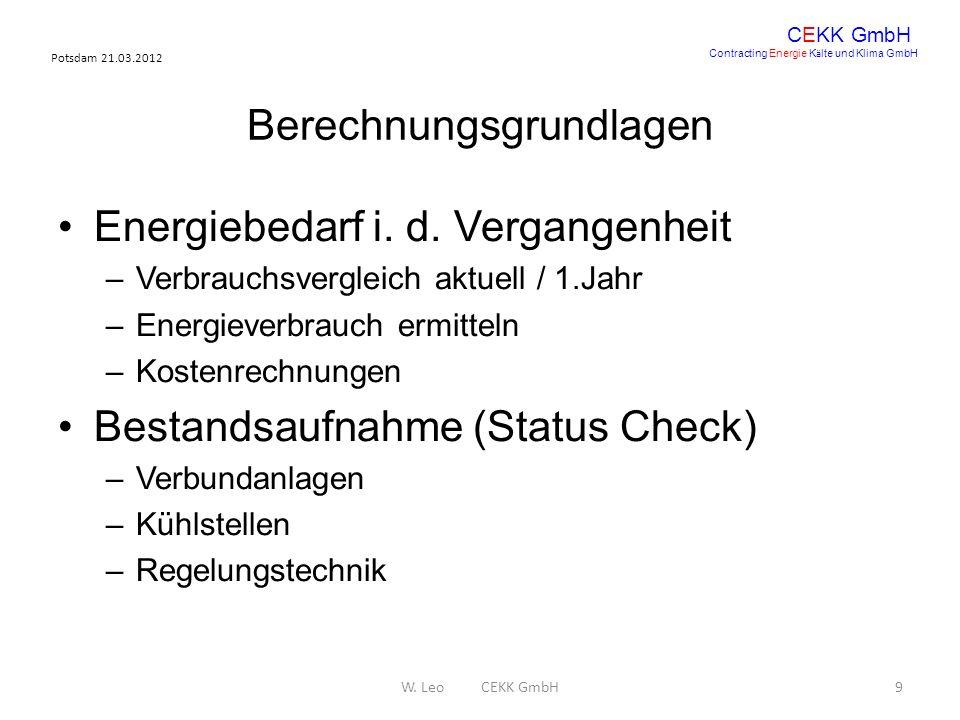 Potsdam 21.03.2012 W. Leo CEKK GmbH9 CEKK GmbH Contracting Energie K ä lte und Klima GmbH Berechnungsgrundlagen Energiebedarf i. d. Vergangenheit –Ver