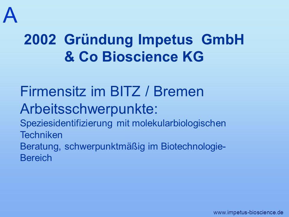 A 2002 Gründung Impetus GmbH & Co Bioscience KG Firmensitz im BITZ / Bremen Arbeitsschwerpunkte: Speziesidentifizierung mit molekularbiologischen Techniken Beratung, schwerpunktmäßig im Biotechnologie- Bereich