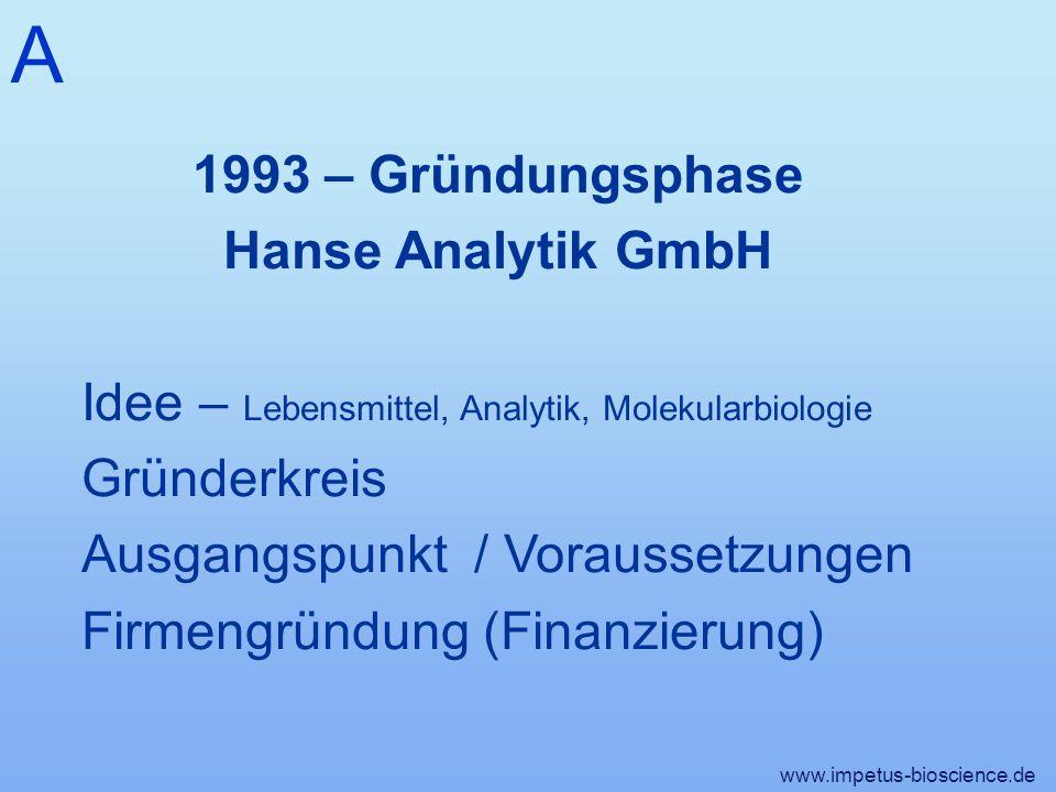 A www.impetus-bioscience.de 1993 – Gründungsphase Hanse Analytik GmbH Idee – Lebensmittel, Analytik, Molekularbiologie Gründerkreis Ausgangspunkt / Voraussetzungen Firmengründung (Finanzierung)