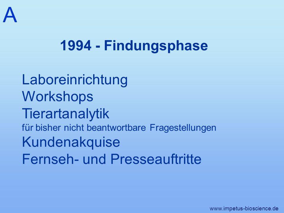 A www.impetus-bioscience.de 1994 - Findungsphase Laboreinrichtung Workshops Tierartanalytik für bisher nicht beantwortbare Fragestellungen Kundenakquise Fernseh- und Presseauftritte