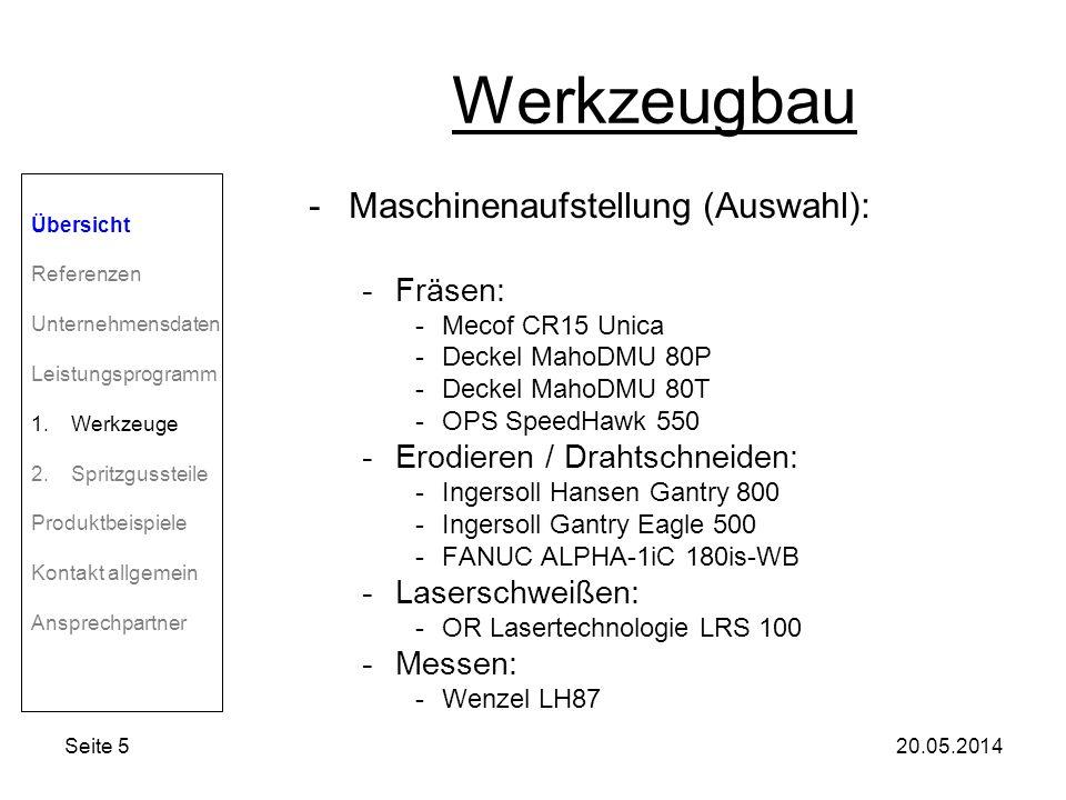 Seite 520.05.2014 Werkzeugbau -Maschinenaufstellung (Auswahl): -Fräsen: -Mecof CR15 Unica -Deckel MahoDMU 80P -Deckel MahoDMU 80T -OPS SpeedHawk 550 -Erodieren / Drahtschneiden: -Ingersoll Hansen Gantry 800 -Ingersoll Gantry Eagle 500 -FANUC ALPHA-1iC 180is-WB -Laserschweißen: -OR Lasertechnologie LRS 100 -Messen: -Wenzel LH87 Übersicht Referenzen Unternehmensdaten Leistungsprogramm 1.Werkzeuge 2.Spritzgussteile Produktbeispiele Kontakt allgemein Ansprechpartner