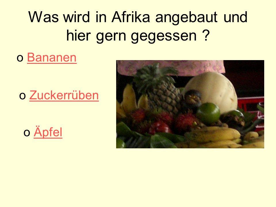 Was wird in Afrika angebaut und hier gern gegessen .