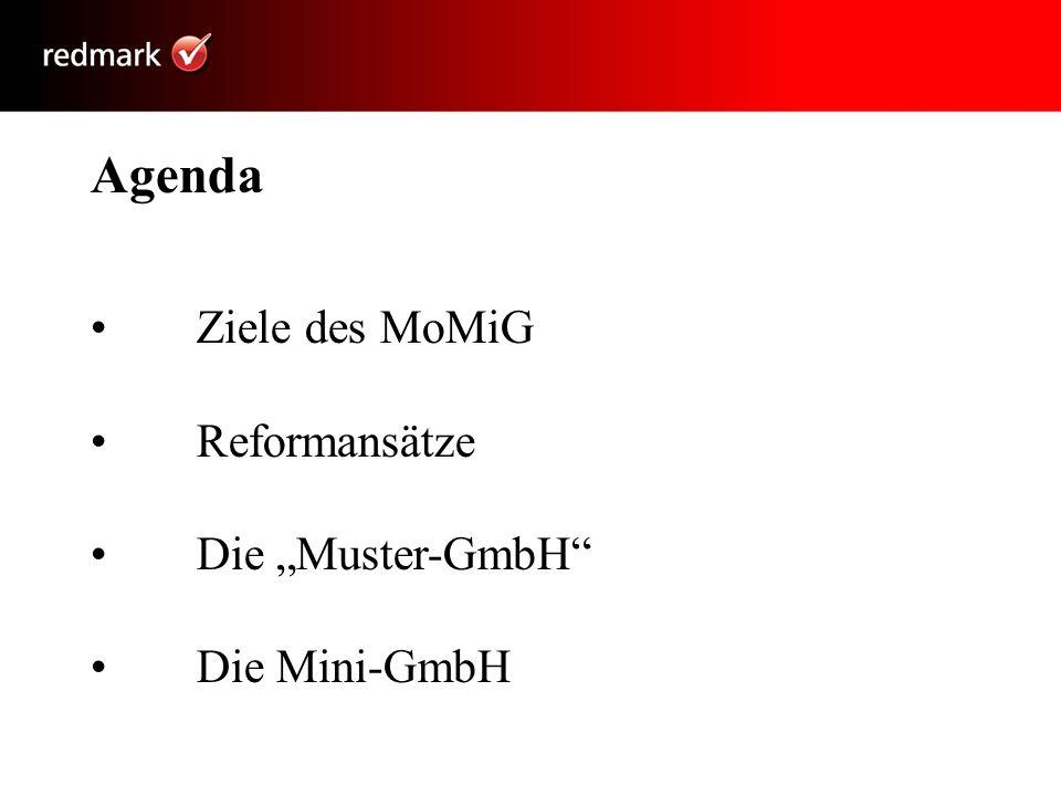 Agenda Ziele des MoMiG Reformansätze Die Muster-GmbH Die Mini-GmbH