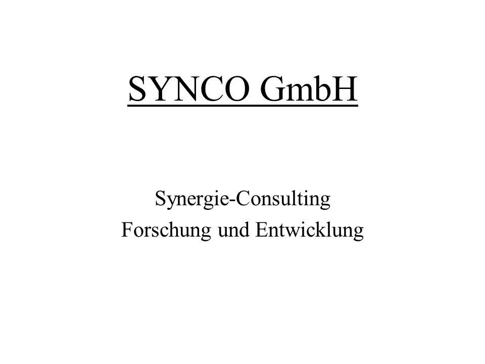 SYNCO GmbH Synergie-Consulting Forschung und Entwicklung
