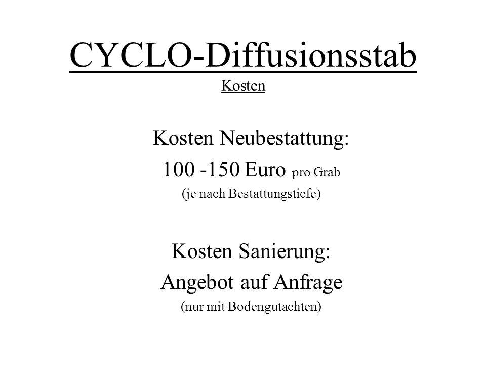 CYCLO-Diffusionsstab Kosten Kosten Neubestattung: 100 -150 Euro pro Grab (je nach Bestattungstiefe) Kosten Sanierung: Angebot auf Anfrage (nur mit Bod