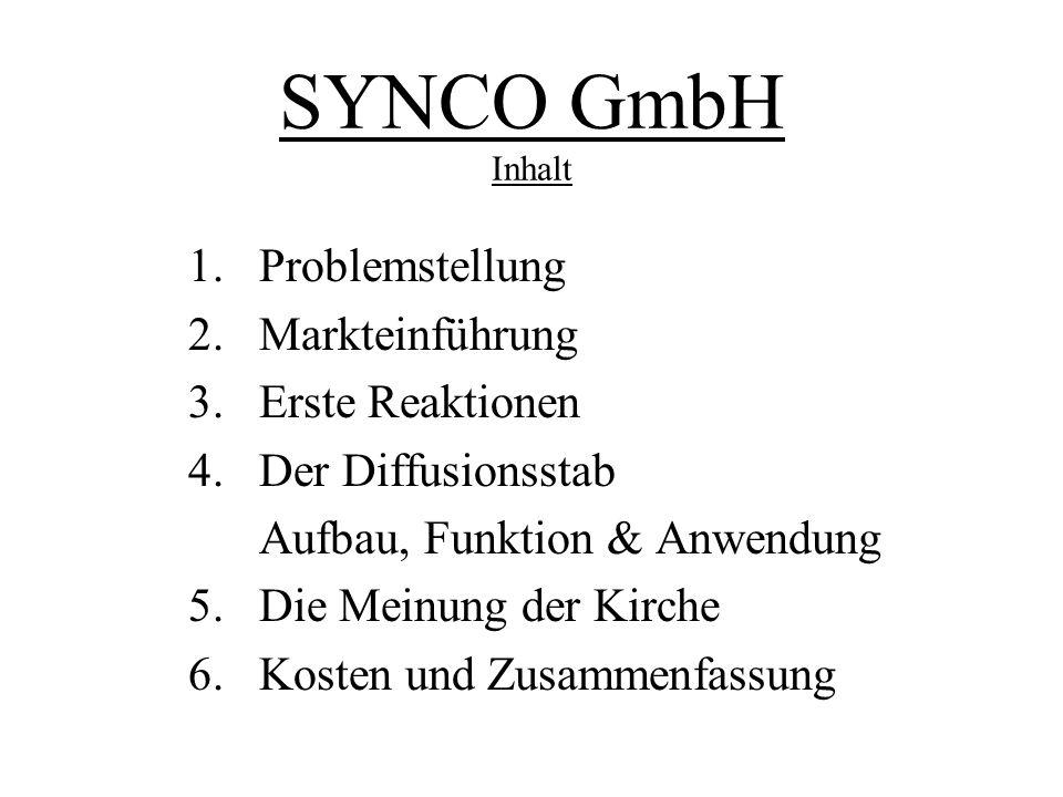 SYNCO GmbH Inhalt 1. Problemstellung 2. Markteinführung 3. Erste Reaktionen 4. Der Diffusionsstab Aufbau, Funktion & Anwendung 5. Die Meinung der Kirc