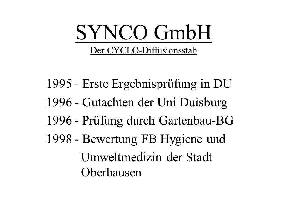 SYNCO GmbH Der CYCLO-Diffusionsstab 1995- Erste Ergebnisprüfung in DU 1996- Gutachten der Uni Duisburg 1996- Prüfung durch Gartenbau-BG 1998- Bewertun