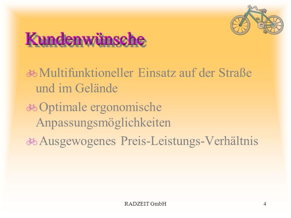 4RADZEIT GmbH KundenwünscheKundenwünsche Multifunktioneller Einsatz auf der Straße und im Gelände Optimale ergonomische Anpassungsmöglichkeiten Ausgew