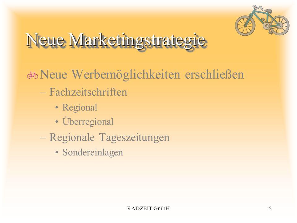 5RADZEIT GmbH Neue Marketingstrategie Neue Werbemöglichkeiten erschließen –Fachzeitschriften Regional Überregional –Regionale Tageszeitungen Sonderein