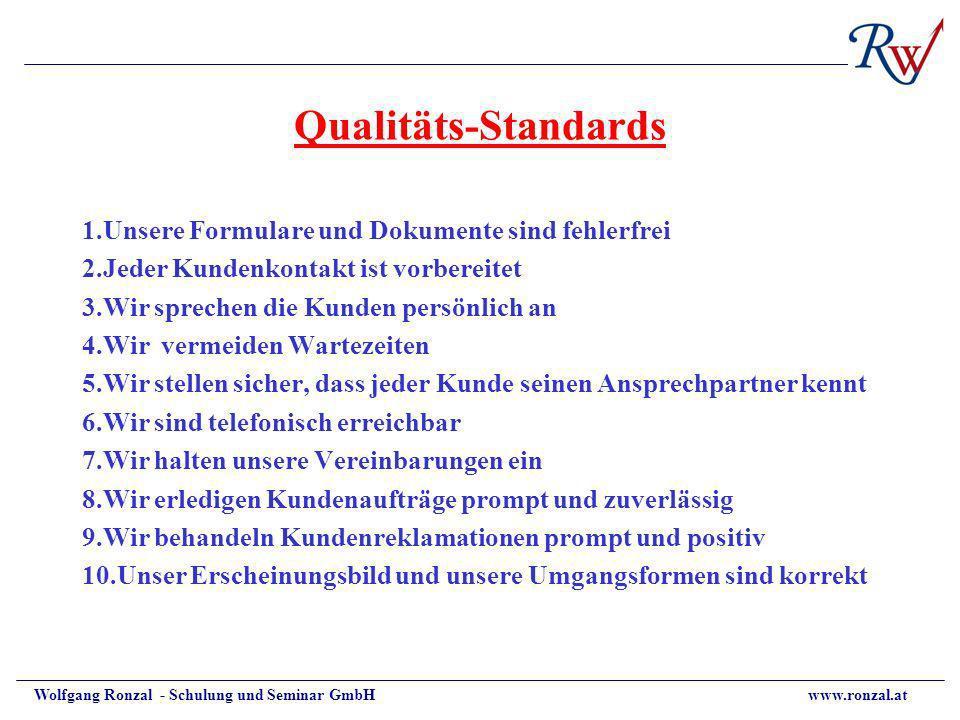 Wolfgang Ronzal - Schulung und Seminar GmbH www.ronzal.at Qualitäts-Standards 1.Unsere Formulare und Dokumente sind fehlerfrei 2.Jeder Kundenkontakt i