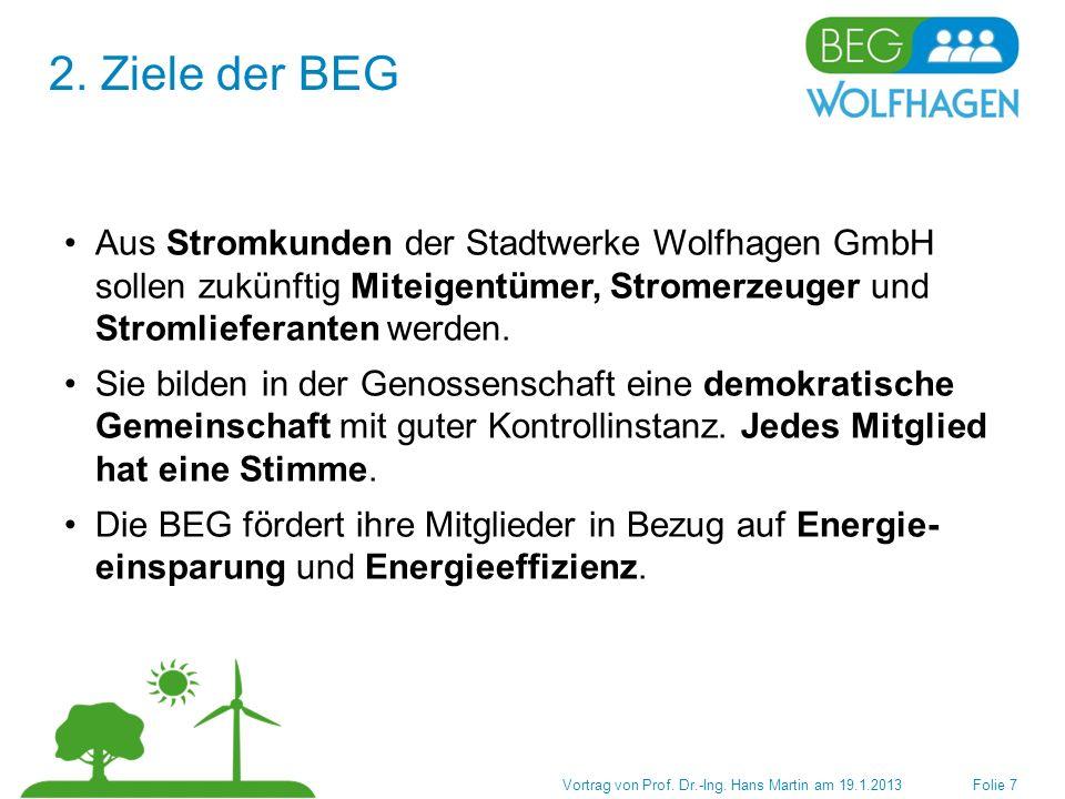 Nutzen für die Mitglieder der BEG 4.Finanzplanung Vortrag von Prof.
