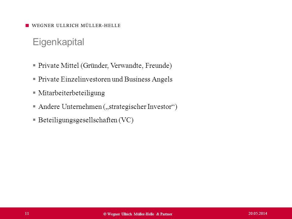 20.05.2014 11 © Wegner Ullrich Müller-Helle & Partner Private Mittel (Gründer, Verwandte, Freunde) Private Einzelinvestoren und Business Angels Mitarb