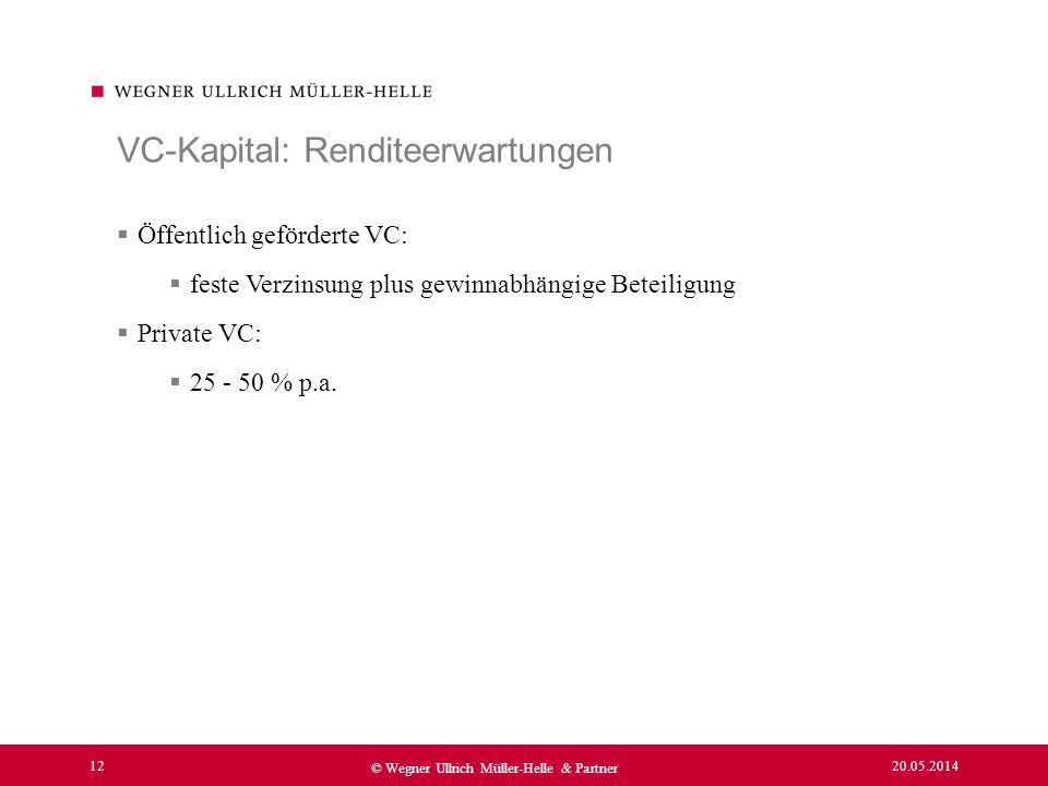 20.05.2014 12 © Wegner Ullrich Müller-Helle & Partner Öffentlich geförderte VC: feste Verzinsung plus gewinnabhängige Beteiligung Private VC: 25 - 50