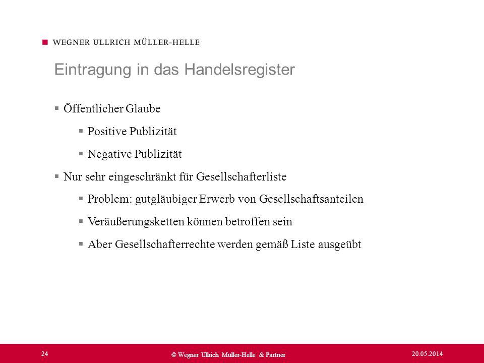 20.05.2014 24 © Wegner Ullrich Müller-Helle & Partner Öffentlicher Glaube Positive Publizität Negative Publizität Nur sehr eingeschränkt für Gesellsch