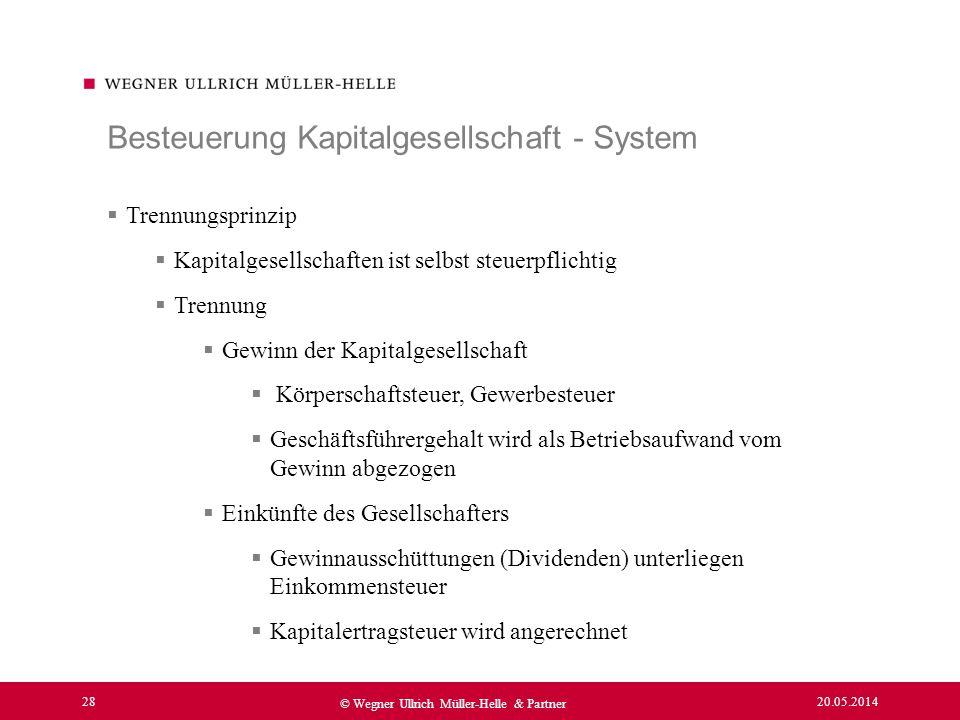 20.05.2014 28 © Wegner Ullrich Müller-Helle & Partner Trennungsprinzip Kapitalgesellschaften ist selbst steuerpflichtig Trennung Gewinn der Kapitalges
