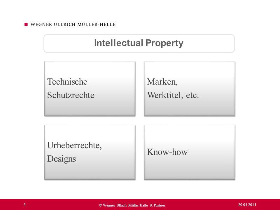 20.05.2014 3 © Wegner Ullrich Müller-Helle & Partner Intellectual Property Technische Schutzrechte Marken, Werktitel, etc. Urheberrechte, Designs Know