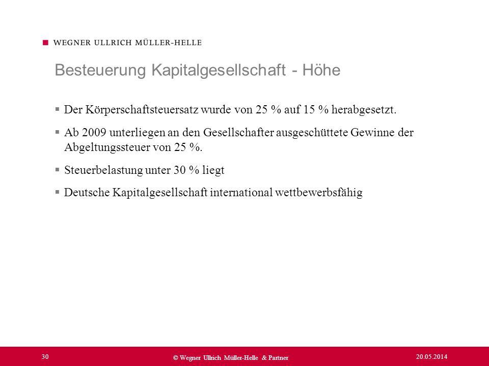 20.05.2014 30 © Wegner Ullrich Müller-Helle & Partner Der Körperschaftsteuersatz wurde von 25 % auf 15 % herabgesetzt. Ab 2009 unterliegen an den Gese