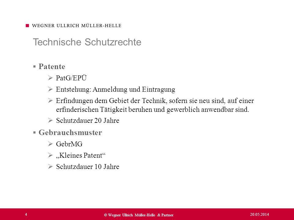 20.05.2014 4 © Wegner Ullrich Müller-Helle & Partner Patente PatG/EPÜ Entstehung: Anmeldung und Eintragung Erfindungen dem Gebiet der Technik, sofern