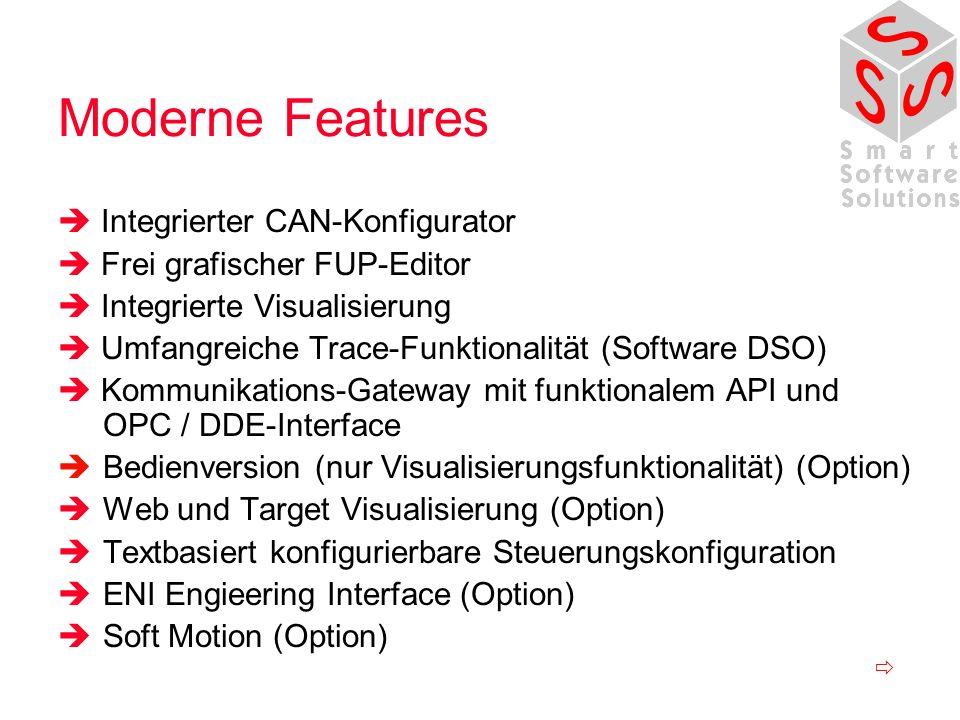 Moderne Features Integrierter CAN-Konfigurator Frei grafischer FUP-Editor Integrierte Visualisierung Umfangreiche Trace-Funktionalität (Software DSO) Kommunikations-Gateway mit funktionalem API und OPC / DDE-Interface Bedienversion (nur Visualisierungsfunktionalität) (Option) Web und Target Visualisierung (Option) Textbasiert konfigurierbare Steuerungskonfiguration ENI Engieering Interface (Option) Soft Motion (Option)