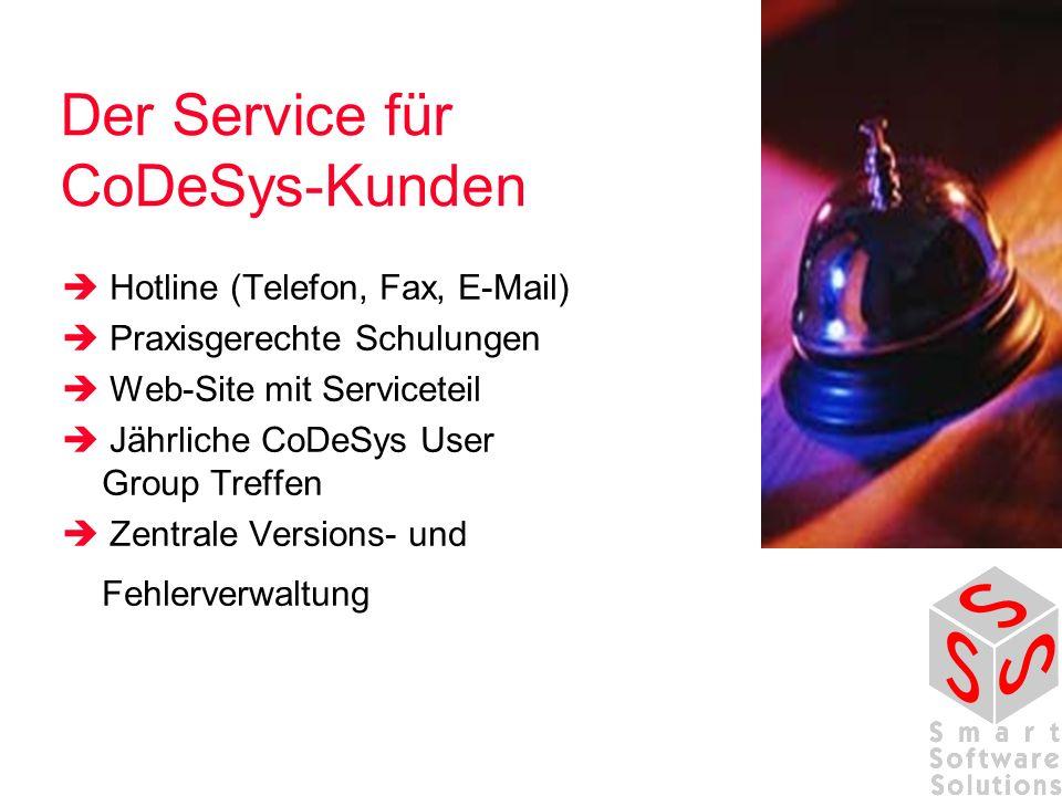 Der Service für CoDeSys-Kunden Hotline (Telefon, Fax, E-Mail) Praxisgerechte Schulungen Web-Site mit Serviceteil Jährliche CoDeSys User Group Treffen Zentrale Versions- und Fehlerverwaltung