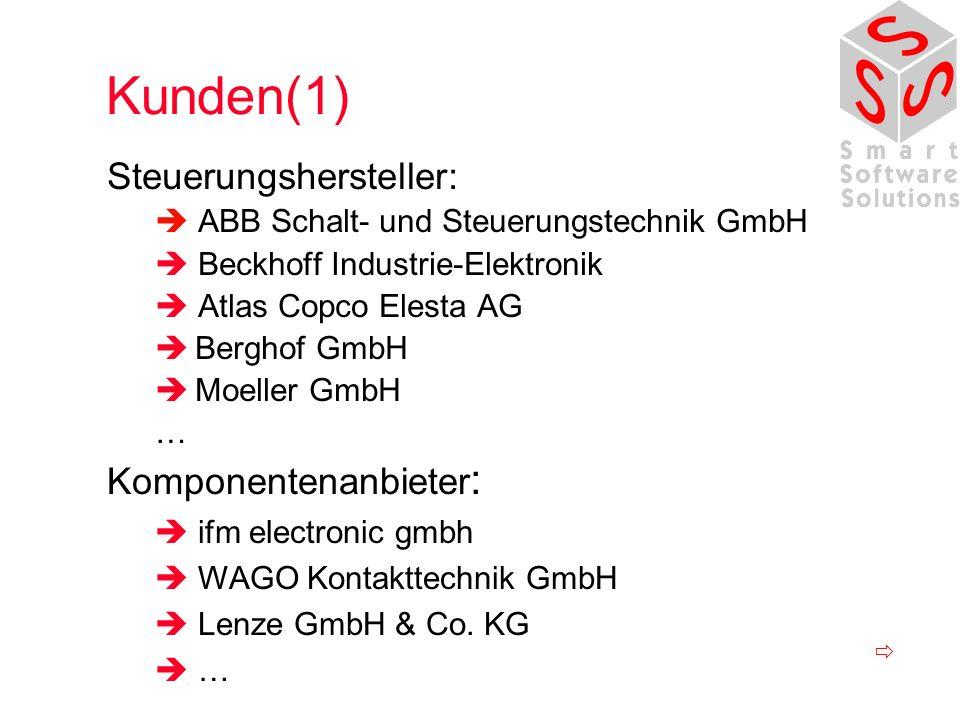 Kunden(1) Steuerungshersteller: ABB Schalt- und Steuerungstechnik GmbH Beckhoff Industrie-Elektronik Atlas Copco Elesta AG Berghof GmbH Moeller GmbH … Komponentenanbieter : ifm electronic gmbh WAGO Kontakttechnik GmbH Lenze GmbH & Co.