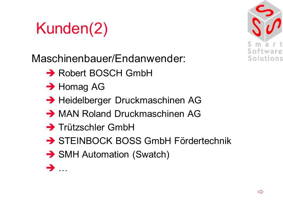 Kunden(2) Maschinenbauer/Endanwender: Robert BOSCH GmbH Homag AG Heidelberger Druckmaschinen AG MAN Roland Druckmaschinen AG Trützschler GmbH STEINBOC