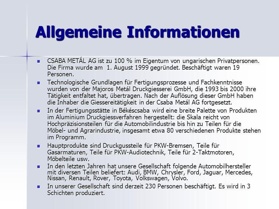 Allgemeine Informationen CSABA METÁL AG ist zu 100 % im Eigentum von ungarischen Privatpersonen.