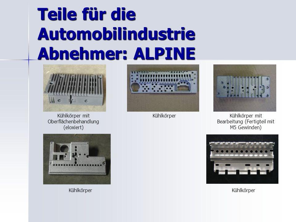 Teile für die Automobilindustrie Abnehmer: ALPINE Kühlkörper mit Oberflächenbehandlung (eloxiert) KühlkörperKühlkörper mit Bearbeitung (Fertigteil mit M5 Gewinden) Kühlkörper
