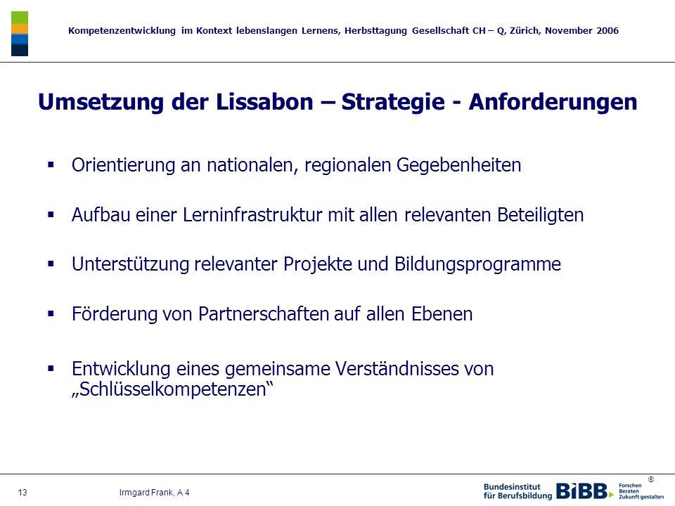 ® Kompetenzentwicklung im Kontext lebenslangen Lernens, Herbsttagung Gesellschaft CH – Q, Zürich, November 2006 13 Irmgard Frank, A 4 Umsetzung der Li
