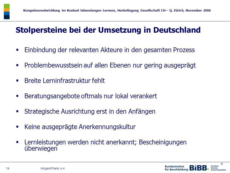 ® Kompetenzentwicklung im Kontext lebenslangen Lernens, Herbsttagung Gesellschaft CH – Q, Zürich, November 2006 14 Irmgard Frank, A 4 Stolpersteine be