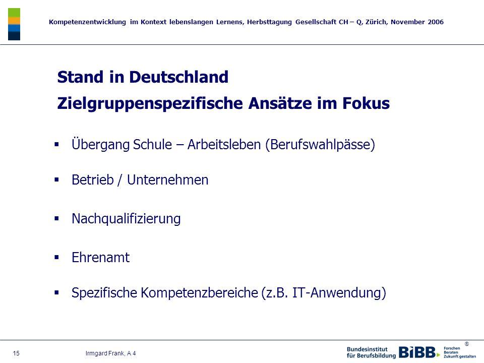 ® Kompetenzentwicklung im Kontext lebenslangen Lernens, Herbsttagung Gesellschaft CH – Q, Zürich, November 2006 15 Irmgard Frank, A 4 Stand in Deutsch