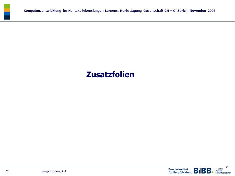 ® Kompetenzentwicklung im Kontext lebenslangen Lernens, Herbsttagung Gesellschaft CH – Q, Zürich, November 2006 20 Irmgard Frank, A 4 Zusatzfolien