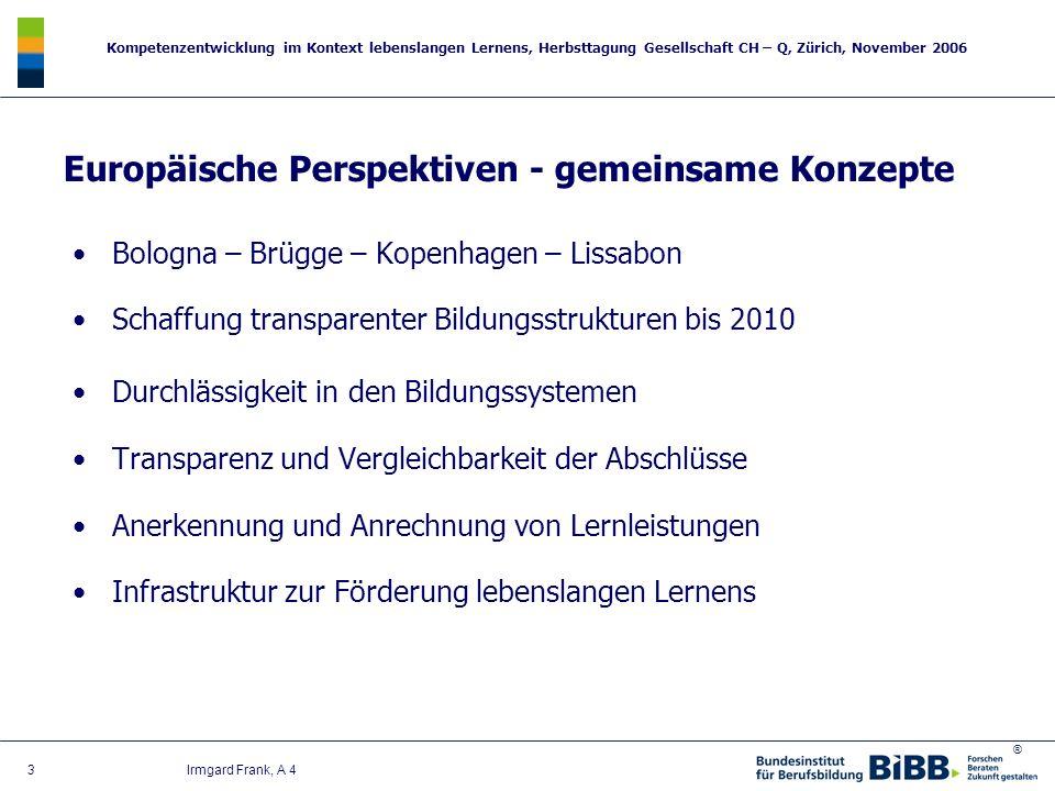 ® Kompetenzentwicklung im Kontext lebenslangen Lernens, Herbsttagung Gesellschaft CH – Q, Zürich, November 2006 3 Irmgard Frank, A 4 Bologna – Brügge