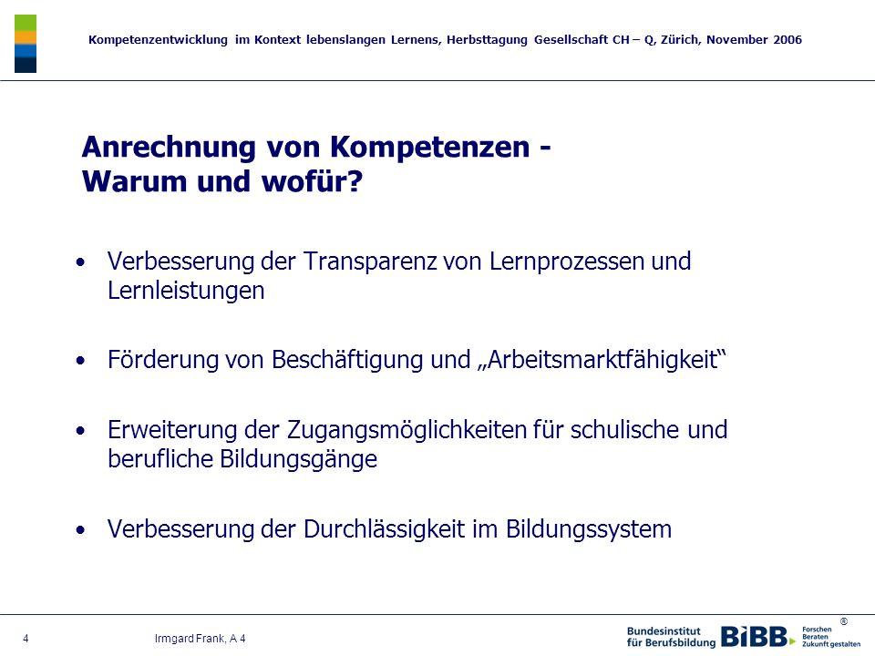 ® Kompetenzentwicklung im Kontext lebenslangen Lernens, Herbsttagung Gesellschaft CH – Q, Zürich, November 2006 4 Irmgard Frank, A 4 Verbesserung der