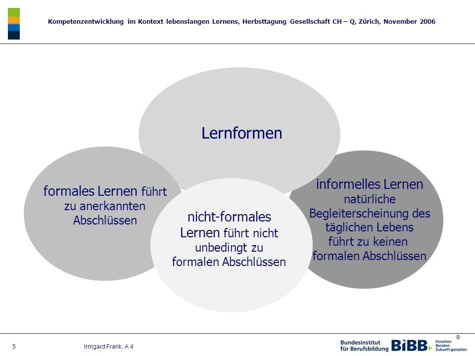 ® Kompetenzentwicklung im Kontext lebenslangen Lernens, Herbsttagung Gesellschaft CH – Q, Zürich, November 2006 5 Irmgard Frank, A 4 Lernformen formal