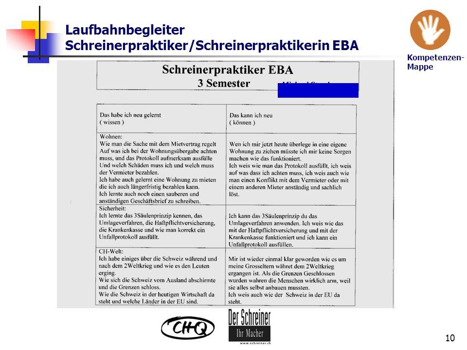 Laufbahnbegleiter Schreinerpraktiker/Schreinerpraktikerin EBA 10 Kompetenzen- Mappe