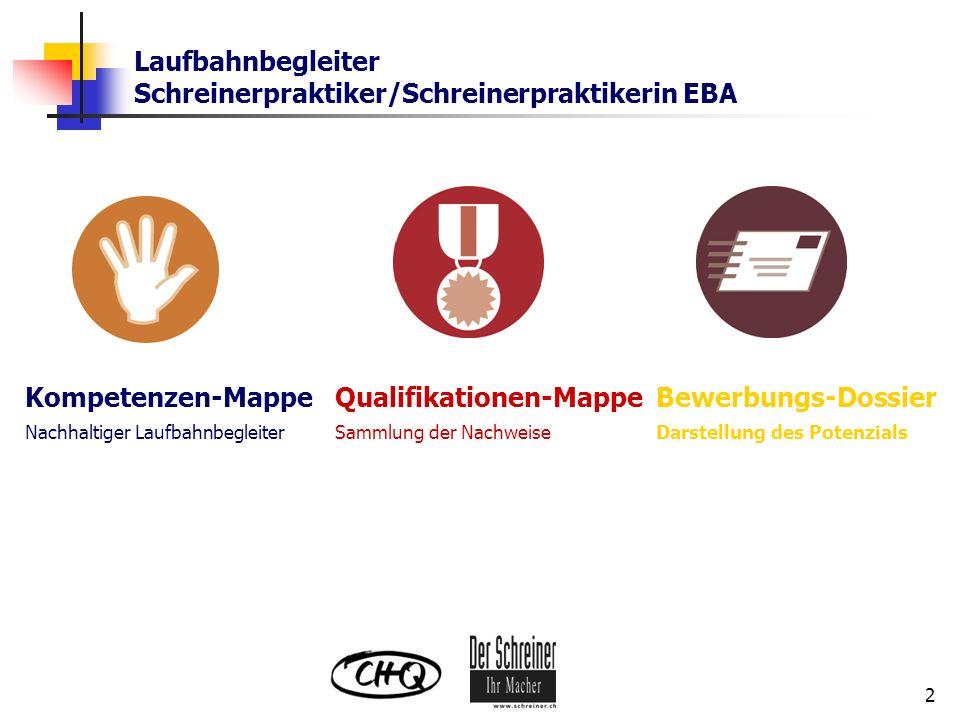 Laufbahnbegleiter Schreinerpraktiker/Schreinerpraktikerin EBA 2 Kompetenzen-Mappe Nachhaltiger Laufbahnbegleiter Qualifikationen-Mappe Sammlung der Na