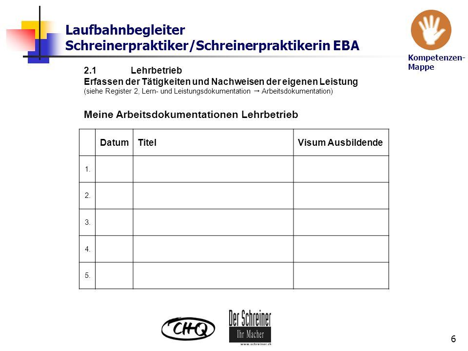 Laufbahnbegleiter Schreinerpraktiker/Schreinerpraktikerin EBA 6 2.1Lehrbetrieb Erfassen der Tätigkeiten und Nachweisen der eigenen Leistung (siehe Reg