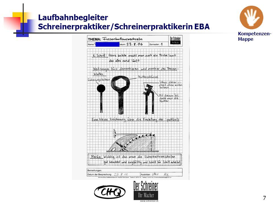 Laufbahnbegleiter Schreinerpraktiker/Schreinerpraktikerin EBA 7 Kompetenzen- Mappe