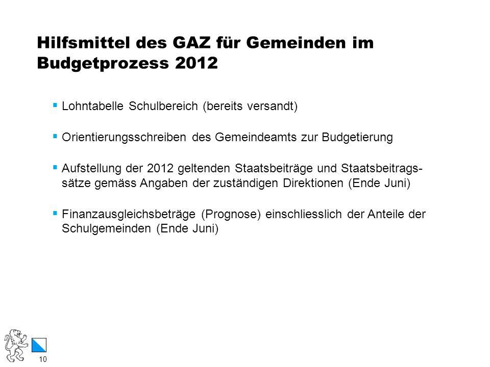 10 / 12 Hilfsmittel des GAZ für Gemeinden im Budgetprozess 2012 10 Lohntabelle Schulbereich (bereits versandt) Orientierungsschreiben des Gemeindeamts